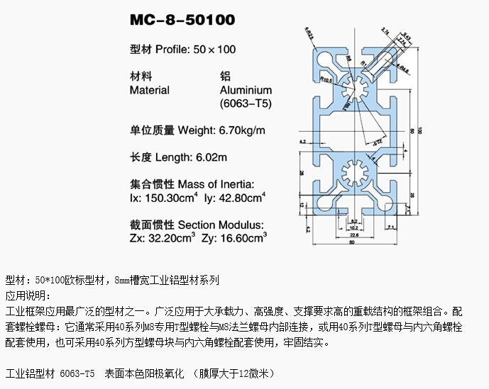 工业流水线铝型材MC-8-50100-02