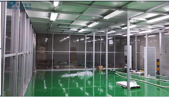 无尘车间铝型材洁净房安装过程图