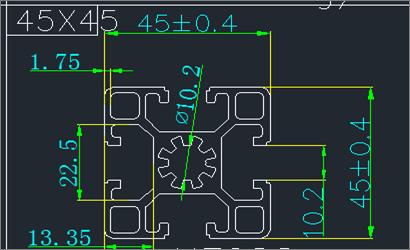 4545工业铝型材结构图