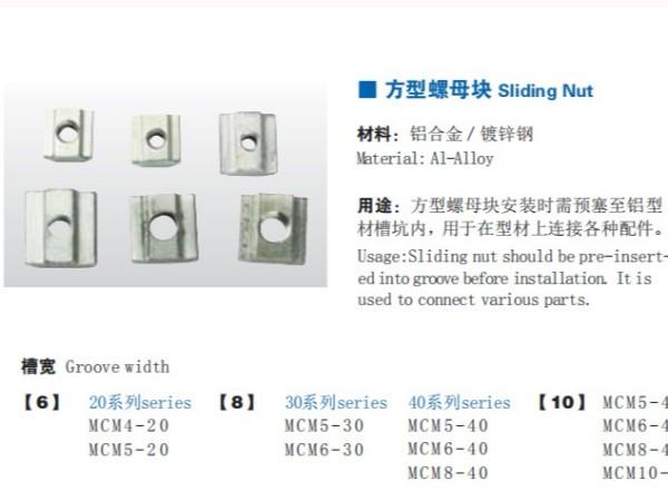 工业铝型材配件-需要预埋的方母