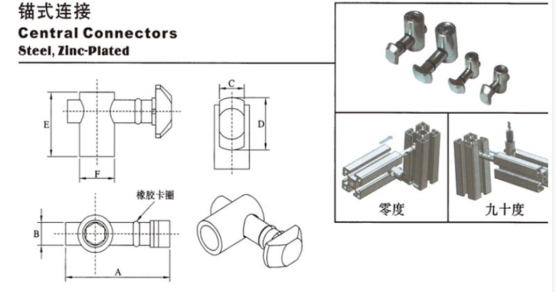 南京美诚铝业铝型材配件-工业铝型材配件锚式连接件