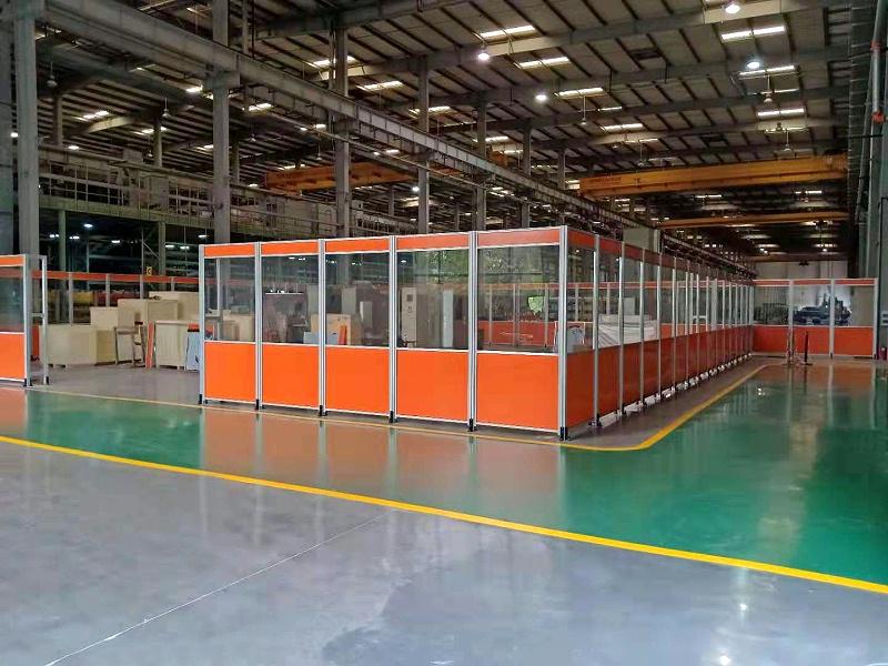 铝型材橘色防护弧光板围栏
